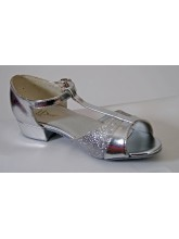 Childrens Low Heel T-Bar Silver Ballroom Shoe (DD-LOUISE)