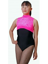 Polly Sleeveless Polo Dance Leotard Velvet/Black Lycra (DD-POLVLB)