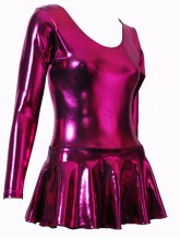 Josie Long Sleeve Short Dress Liquid Foil - Dance Leotards (DD-JOSIE-SHEEN)