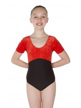 Simone Short Sleeve Dance Leotard Velvet/Black Lycra (DD-SIMVLB)