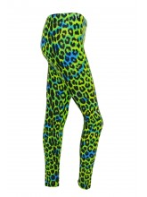 Footless Tights Lycra Green Leopard Print (DD-STL-GREENLEOPARD)