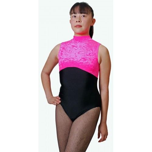 Keyhole Back POLLY Leotard Sleevess,Cotton Polo Neck